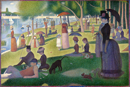 A Sunday Afternoon on the Island of La Grande Jatte by Georges Seurat. Neo-impressionist aesthetics paralleled anarchism's social theory as both currents were in favour of the harmonious blending of nature, physical laws, science and society, offering a synthesis of the ideal with the real.[217][218]