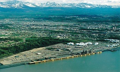 Aerial view of the Port of Anchorage on Cook Inlet in 1999.
