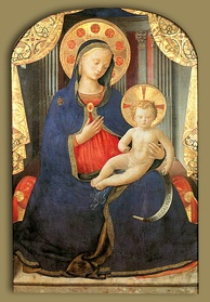 Madonna of humility by Fra Angelico, c. 1430. A traditional depiction of Mary wearing blue clothes.