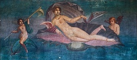 Venus rising from the sea, a wall painting from Pompeii