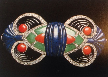 Boucheron (1925), a gold buckle set with diamonds and carved onyx, lapis lazuli, jade, and coral