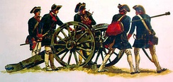 Continental Artillery crew from the American Revolution handling a cannon.