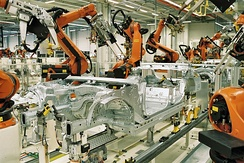 BMW plant in Leipzig, Germany: Spot welding of BMW 3 series car bodies with KUKA industrial robots