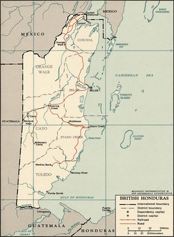 1965 map of British Honduras
