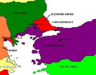 Byzantium (in red) in 1369, after the Ottomans conquered the city of Adrianople