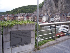 A plaque commemorating the place where Charles de Gaulle, then an infantry lieutenant, was wounded during the Battle of Dinant