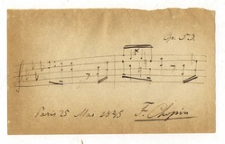 Autographed musical quotation from the Polonaise Op. 53, signed by Chopin on 25 May 1845