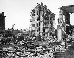Ruined buildings at Whitechapel, London, left by the penultimate V-2 to strike the city on 27 March 1945; the rocket killed 134 people. The final V-2 to fall on London killed one person at Orpington later the same day.[48]