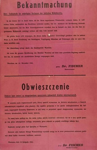 Announcement of death penalty for Jews captured outside the Ghetto and for Poles helping Jews, November 1941