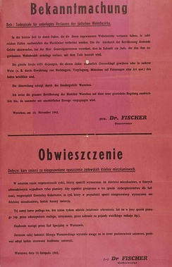Announcement of death penalty for Jews found outside the ghetto and for Poles helping Jews in any way, 1941