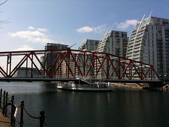 The Detroit Swing Bridge, which once gave the MSC Railway access to Trafford Park, now repositioned in Salford Quays