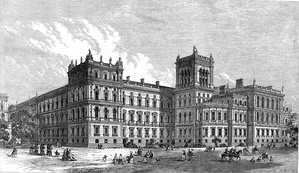 The building of the Foreign, India, Home, and Colonial Offices in 1866. It was then occupied by all four government departments.
