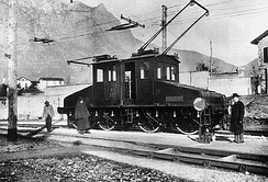 A prototype of a Ganz AC electric locomotive in Valtellina, Italy, 1901