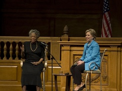 Angelou and Hillary Clinton at an event in North Carolina in 2008