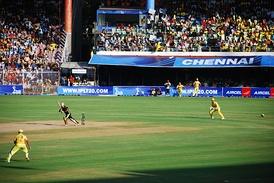 An Indian Premier League match commencing at the Chepauk Stadium between Chennai Super Kings and Kolkata Knight Riders