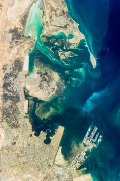 Northeast Dammam, Saihat, Qatif, Tarout Island, and Ras Tanura, taken from the International Space Station.