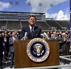 President Kennedy speaks at Rice Stadium on the American space program in 1962