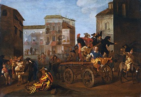 Commedia dell'arte Troupe on a Wagon in a Town Square, by Jan Miel, 1640