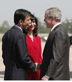 Bobby and Supriya Jolly Jindal meet with then-President George W. Bush.