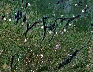 The Kawartha lakes in Ontario formed in residual tunnel valleys from the Late Wisconsonian glacial period. The water flow was from upper right to lower left. Close examination shows the existence of buried tunnel valleys as well – they can be identified by contrasting vegetation.