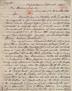 1863 letter from Sarah Josepha Hale to President Abraham Lincoln discussing the creation of a Thanksgiving holiday