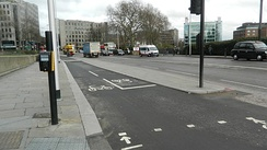 A dual bike road, but still a bike road in central London, just west of Tower of London