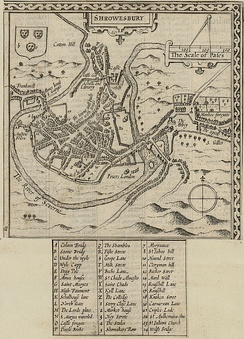 Map of Shrewsbury town from Pennant's A tour in Wales, 1778