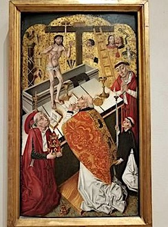 Mass of St. Gregory, c. 1490, attributed to Diego de la Cruz, oil and gold on panel (Philadelphia Museum of Art)