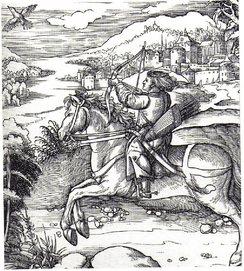 Hunting for flying birds from the back of a galloping horse was considered the top category of archery. The favorite hobby of Prince Maximilian, engraved by Dürer