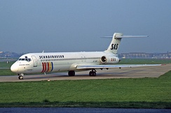 Scandinavian Airlines McDonnell Douglas MD-87 at Berlin Tempelhof Airport in April 1995
