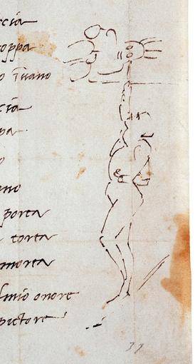 Отрывок из письма Микеланджело с его сонетом. 1510. Casa Buonarotti, Флоренция