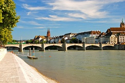 The Rhine in Basel as Switzerland's gateway to the sea