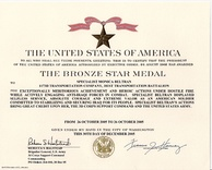 An example of an army Bronze Star Medal citation, given for combat valor.