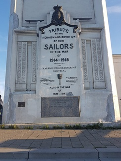 Sailors' tribute at the base of the clock tower.