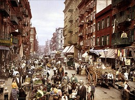 Mulberry Street, along which New York City's Little Italy is centered. Lower East Side, circa 1900