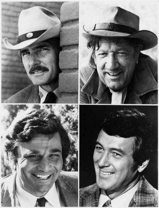 The NBC Sunday Mystery Movie program worked on a rotating basis – one per month from each of its shows. Top left: Dennis Weaver in McCloud. Top right: Richard Boone in Hec Ramsey. Bottom left: Peter Falk in Columbo. Bottom right: Rock Hudson (photo without his later hep trademark mustache) in McMillan & Wife.