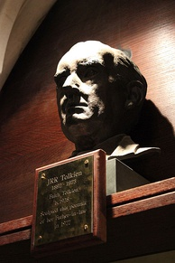 J. R. R. Tolkien's bust by Faith Falcounbridge in Exeter College, Oxford
