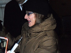 Patti LuPone on January 13, 2012, outside the Ethel Barrymore Theatre.