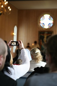 Point-and-shoot camera using live preview for a picture in a church in Norway