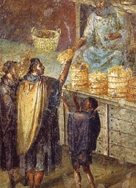 Bread stall, from a Pompeiian wall painting