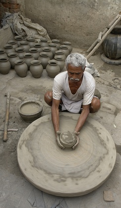 A potter at work in Morena, India