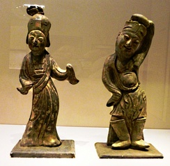 Pottery Dancers. 943 CE. From tomb of Li Bian, founder of Southern Tang dynasty