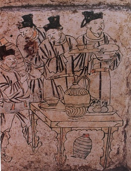 A mural of people  preparing drinks of Liao Dynasty.