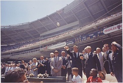 President John F. Kennedy throwing out the first pitch at the 1962 All-Star game.