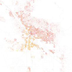 Map of racial distribution in Tucson, 2010 U.S. Census. Each dot is 25 people: White, Black, Asian, Hispanic of any race or Other (yellow)