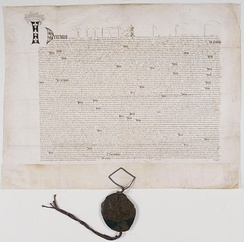 The ratification of the Treaty of Troyes between Henry and Charles VI of France. Archives Nationales (France).