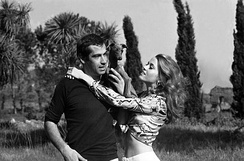 Fonda and her first husband Roger Vadim in Rome in 1967 during Barbarella's filming period.