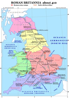 The traditional arrangement of the late Roman provinces after Camden,[2] placing Maxima around Eburacum (York)