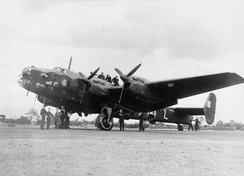 76 Squadron Halifax on the tarmac
