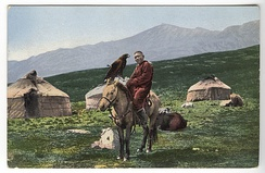 Kazakh man on a horse with golden eagle